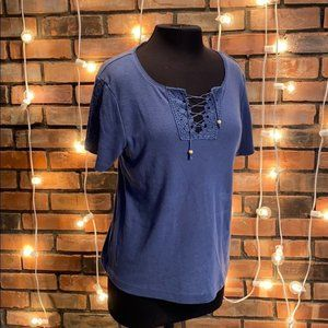 ERIKA Short Sleeved Tee Blue Cross Hatched Front